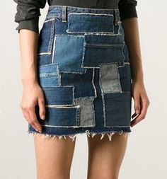 saint laurent denim patchwork mini skirt