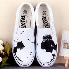 Princess Cat Slip On Canvas Sneakers. Great cat themed accessory for owners of diva cats!