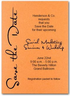 Please save the date march 7 10 2013 for the success conference sideways save the date shimmery orange business save the date cards business save the date cards cheaphphosting Images