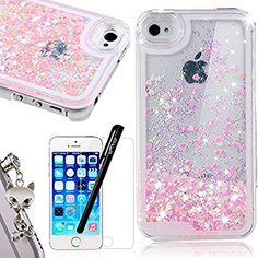 iPhone SE Liquid Case,iPhone 5S Glitter Bling Cover,We Love Case Flowing Floating Water Liquid Swimming Plastic Case Clear Hard Shell 3D Creative Design Pink Love Pattern Luxury Sparkly Crystal Back Cover Protective Skin Cell Phone Cases For Apple iPhone