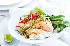 Steaming the salmon locks in the moisture and infuses it with beautiful Asian flavour.