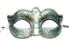 Bridal Masquerade Mask with Venetian Floral Designs w/ Lovely Macramé Lace Bordering - Ivory Tiffany Blue
