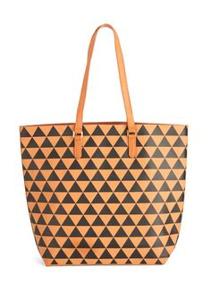 The Body Geometric Tote. Load up your books and calculator in this patterned cognac tote - available for purchase in September - and show off your stylistic smarts! #gold #prom #modcloth