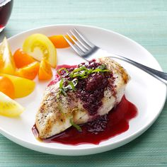 Chicken with Berry Wine Sauce Recipe -We like to use Little Red Dress brand merlot in this chicken recipe to bring out the flavor of the berries. —Elizabeth Wright, Raleigh, North Carolina