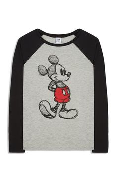 T-shirt, baseball-stijl met Mickey Mouse