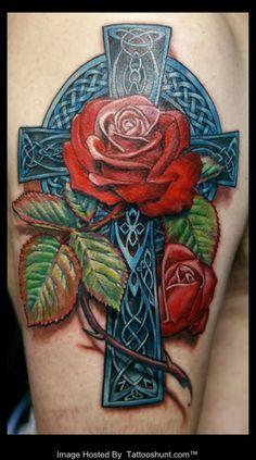 3d celtic cross half sleeve tattoo
