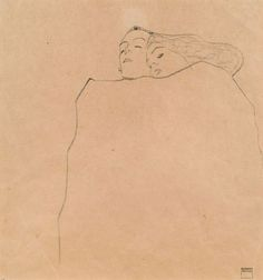 Egon Schiele | Schlafendes Paar [Sleeping Couple] | 1909 | Pencil on paper, 32 x 30 cm #art #drawing