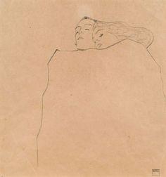 Egon Schiele, Schlafendes Paar [Sleeping Couple], 1909. Pencil on paper, 32 x 30 cm.