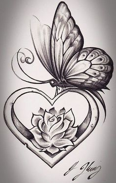 Butterfly tattoo flower and butterfly tattoos, butterfly sketch, butterfly with flowers tattoo, lotus Butterfly Sketch, Butterfly Tattoo Designs, Heart Tattoo Designs, Simple Butterfly, Monarch Butterfly, Blue Butterfly, Rose With Butterfly Tattoo, Heart With Flowers Tattoo, Rose Heart Tattoo