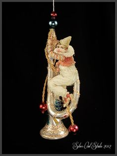 Victorian Christmas Ornament  Clowning Around by SilverOwlStudio