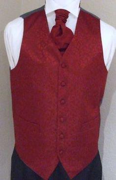 Burgundy Swirl Mens/Boys Wedding Waistcoat & Cravat Set   eBay