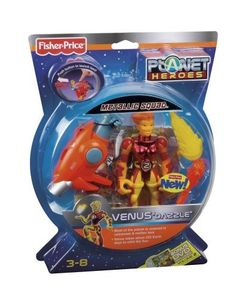 Fisher-Price Planet Heroes Venus Metallic Figure by Fisher-Price. $29.99. With real space facts, these action figures appeal to both boys and moms. Accessories include shield, lava missile, lava launcher, and trading card. Press the button to launch lava. Designed with high action features. Collect all Planet Here figures. From the Manufacturer                Venus Dazzle is used to the intergalactic heat. Deep into battle with the archenemies of the universe, she li...