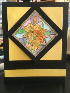 Stained glass floral stamp colored with Copics - from a CardMaking and Papercraft Magazine