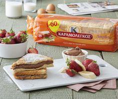 Αυγοφέτες  με πραλίνα και φρούτα Sweet Recipes, Snack Recipes, Snacks, Breakfast Time, French Toast, Brunch, Chips, Beef, Cooking
