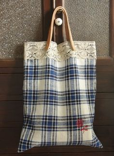 Vintage blue gingham fabric tote -- Leather handles 40cm L each , Lace and Cross stitch ... by cottonbule