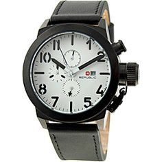 @Overstock - This men's chronograph watch from Republic features a white motif on the dial and a black bezel. A black leather strap combined with a three-hand display and a reliable quartz movement complete the styling of this handsome watch.http://www.overstock.com/Jewelry-Watches/Republic-Mens-Leather-Strap-White-Black-Watch/6078066/product.html?CID=214117 RUB              3221.28