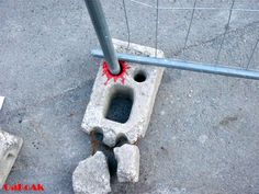 French street artist OakOak converts worn street fixtures and other signs of urban decay into humorous street art. His work often includes pop culture references or cartoon violence.