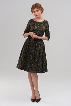 """Mrs Pomeranz """"Olivia"""" dress is a classic style produced in beautiful Liberty of London cotton fabric named ''Laurence leaf. The print was created"""