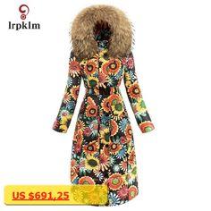 2017 New Fashion Luxury Women Winter Long Down Jackets With Big Fur Hooded Collar Female Warm Printing Duck Down Coat Slim PQ108