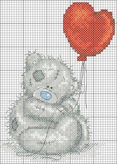 Teddy Orso con l'aerostato Cross Stitch For Kids, Cross Stitch Love, Cross Stitch Animals, Cross Stitch Charts, Cross Stitch Designs, Cross Stitch Patterns, Tatty Teddy, Cross Stitching, Cross Stitch Embroidery