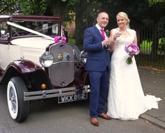 """Michelle and Chris enjoying a """"toast"""" prior to a drive around Nuneaton to their reception venue of the Ambleside Sports Club. Congratulations from Married in Style!"""