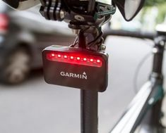 Garmin Varia radar tail light that detects cars that are getting close to you. This bike gadget works best when used with Garmin Edge bike computer.