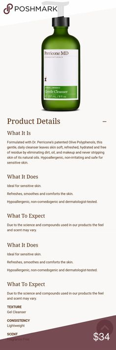 Perricone MD Gentle Cleanser Perricone MD Cosmeceuticals Hypoallergenic Gentle Cleanser. 8 fl oz, brand new! Includes pump Perricone MD Makeup