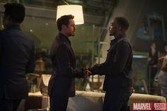 Tony Stark (Robert Downey, Jr.) greets Sam Wilson (Anthony Mackie) in Marvel's 'Avengers: Age of Ultron,' hitting theaters May 1. Get tickets: http://Fandango.com/Avengers