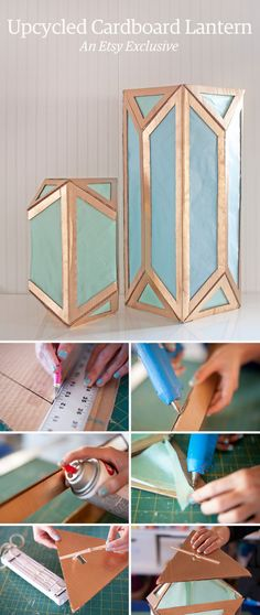 How to turn an old cardboard box into a gorgeous, Art Deco-inspired lantern. - Cardboard Box , How to turn an old cardboard box into a gorgeous, Art Deco-inspired lantern. How to turn an old cardboard box into a gorgeous, Art Deco-inspire. Diy Luminaire, Diy Lampe, Cardboard Crafts, Paper Crafts, Cardboard Boxes, Diy Cardboard Furniture, Cardboard Design, Diy Projects To Try, Craft Projects