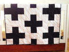 black and white plus sign toddler quilt