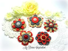 Authentique Heroic Handmade  Paper Flowers, Embellishments for Scrapbook Layouts Cards Tags Mini Albums Altered Art Planners, Paper Crafts by mydivineinspiration on Etsy