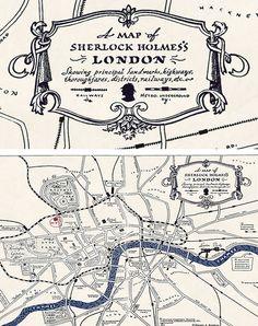 Map of Sherlock Holmes's London (to adapt) Sherlock Holmes, Sherlock John, Sherlock Decor, Secret Agent Party, Detective Aesthetic, Fictional Heroes, Jeremy Brett, London Map, Arthur Conan Doyle