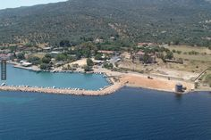 An aerial view of Thermi port,Lesbos island Crystal Clear Water, Holiday Destinations, Aerial View, Greece, Tourism, River, Landscape, World, Beach