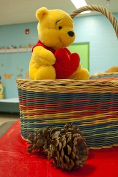 Pooh Bear on a Picnic Basket - Guest Book Table - Winnie the Pooh 1st Birthday Party