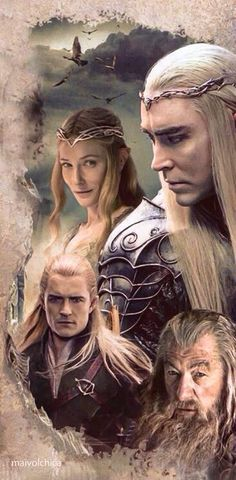 The hobbit. Legolas, Galadriel, Thranduil, and Gandalf
