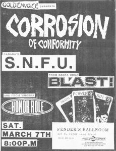 Corrosion of Conformity, SNFU, Blast, and Honor Role at Fender's