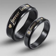 """Black Titanium Steel His and Her Rings with Word """"forever love"""" and Hear Printed"""