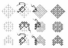 Finally this diagram shows how to make a square or diamond, with the rows show how to make different shapes. Kasuti Embroidery, Viking Embroidery, Hand Embroidery Videos, Embroidery Stitches Tutorial, Hand Work Embroidery, Indian Embroidery, Hand Embroidery Designs, Embroidery Techniques, Cross Stitch Embroidery