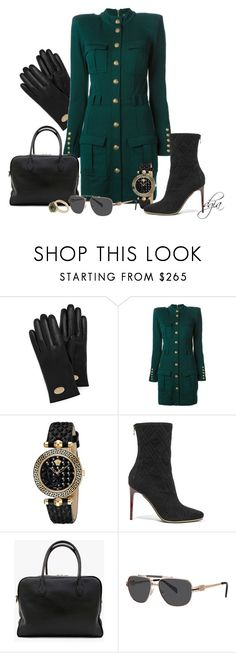 """""""BALMAIN dress,bag,shoes and glasses"""" by dgia ❤ liked on Polyvore featuring Mulberry, Balmain, Versace and 8"""