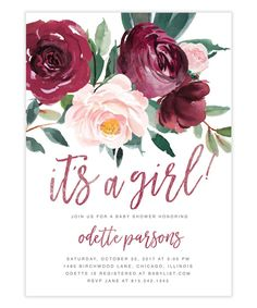 The Odette It's a Girl Baby Shower invitation features gorgeous fall florals with a burgundy and blush pink rose and greenery arrangement and gold brush calligraphy lettering. Baby Girl Shower Themes, Baby Shower Decorations For Boys, Baby Shower Invites For Girl, Baby Shower Parties, Baby Shower For Girls, Baby Shower Fall, Fall Baby, Floral Baby Shower, Burgundy Baby Shower
