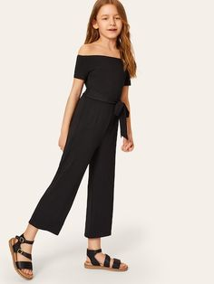 Girls Rib-knit Bardot Jumpsuit With Belt Check out this Girls Rib-knit Bardot Jumpsuit With Belt on Shein and explore more to meet your fashion needs! Girls Fashion Clothes, Kids Outfits Girls, Cute Girl Outfits, Tween Fashion, Sporty Outfits, Teen Fashion Outfits, Cute Summer Outfits, Girl Fashion, Tween Mode