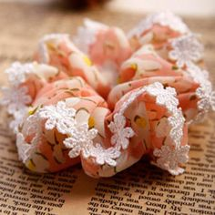 Crocheted-Trim Floral Hair Tie Pink - One Size
