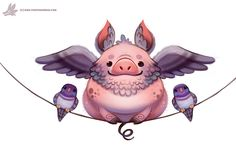 Daily Paint #1116. Flying Pig-eon by Cryptid-Creations.deviantart.com on @DeviantArt