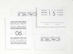 Minimal Modern Letterpress Wedding Invitation
