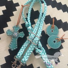 Custom braided seafoam & white reins, turquoise croc bit guards and turquoise croc saddle cross for Shania in Australia! Pricing starts at $35 for reins, $18 for saddle crosses and $15 for bit guards. Please email whinneywear@yahoo.com to order.