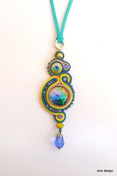 Galaxy Necklace, Nebula, Cosmos, Glass Cabochon, Blue, Teal, Yellow, Peach, Suede Cord, Long, Soutache Necklace, Soutache Pendant, Bright