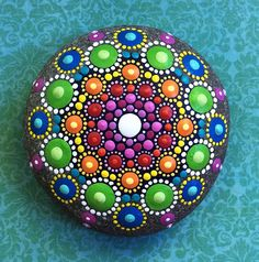Hand Painted Mandala Stone by Elspeth Mclean