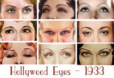 "1930s Beauty and Style – Hollywood Eyes Its 1933 and Photoplay has asked artist Willy Pogany to reveal the inner selves of several screen starlets just by looking at their eyes.""Your eyes are telling on you!"" says Pogany "" Not only by their expression – but for their shape. This is often determined by her choice of 1930s eye makeup style."""