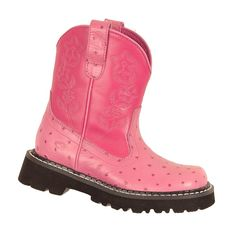 Roper Kids Girls Chunks Pink Bubblegum Faux Ostrich Leather Comfort Cowboy Boots