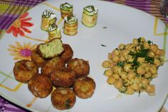 courgettes meatballs, courgettes rolls with soft cheese (robiola), chickpeas salad